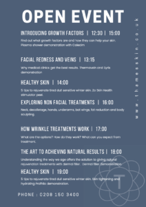 Thames Skin Clinic Open Event program