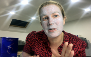 Dr Anna Hemming wearing the Sulphur Mask step of the Thames Skin Clinic Complexion Clearing At Home Facial